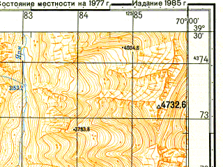 Reduced fragment of topographic map ru--gs--050k--j42-020-4--N039-30_E069-45--N039-20_E070-00