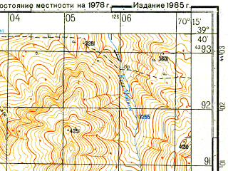 Reduced fragment of topographic map ru--gs--050k--j42-021-1--N039-40_E070-00--N039-30_E070-15