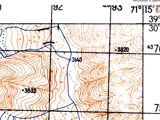 Reduced fragment of topographic map ru--gs--050k--j42-023-3--N039-30_E071-00--N039-20_E071-15