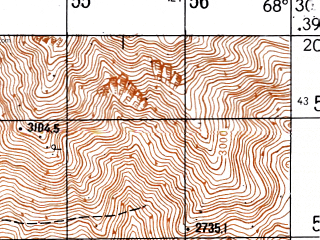 Reduced fragment of topographic map ru--gs--050k--j42-029-2--N039-20_E068-15--N039-10_E068-30