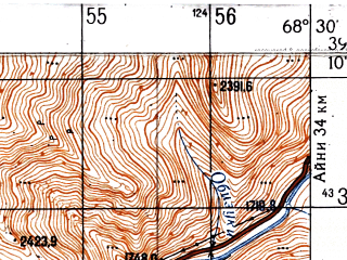 Reduced fragment of topographic map ru--gs--050k--j42-029-4--N039-10_E068-15--N039-00_E068-30