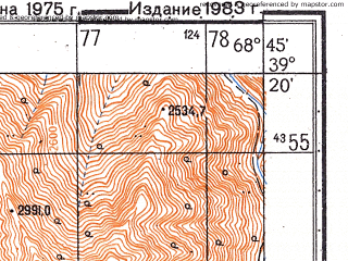 Reduced fragment of topographic map ru--gs--050k--j42-030-1--N039-20_E068-30--N039-10_E068-45