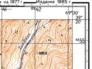 Reduced fragment of topographic map ru--gs--050k--j42-031-2--N039-20_E069-15--N039-10_E069-30