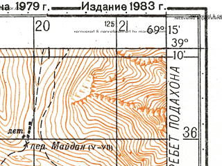 Reduced fragment of topographic map ru--gs--050k--j42-031-3--N039-10_E069-00--N039-00_E069-15