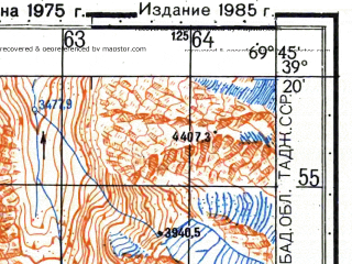 Reduced fragment of topographic map ru--gs--050k--j42-032-1--N039-20_E069-30--N039-10_E069-45