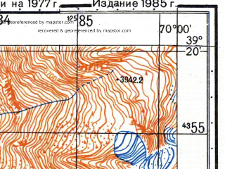 Reduced fragment of topographic map ru--gs--050k--j42-032-2--N039-20_E069-45--N039-10_E070-00
