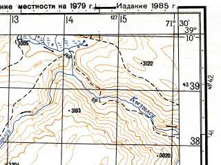 Reduced fragment of topographic map ru--gs--050k--j42-035-4--(1985)--N039-10_E071-15--N039-00_E071-30