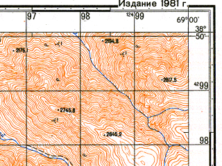 Reduced fragment of topographic map ru--gs--050k--j42-042-4--N038-50_E068-45--N038-40_E069-00; towns and cities Varzob