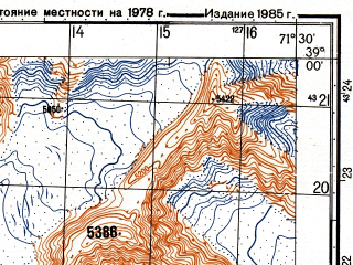 Reduced fragment of topographic map ru--gs--050k--j42-047-2--(1985)--N039-00_E071-15--N038-50_E071-30