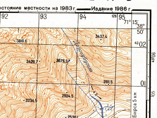 Reduced fragment of topographic map ru--gs--050k--j42-047-3--(1986)--N038-50_E071-00--N038-40_E071-15; towns and cities Sangvor