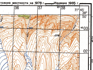 Reduced fragment of topographic map ru--gs--050k--j42-048-3--(1985)--N038-50_E071-30--N038-40_E071-45