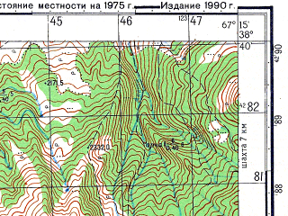 Reduced fragment of topographic map ru--gs--050k--j42-051-1--N038-40_E067-00--N038-30_E067-15