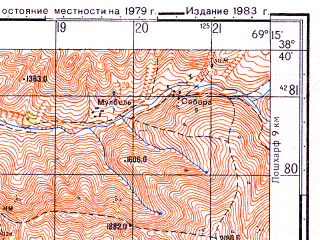Reduced fragment of topographic map ru--gs--050k--j42-055-1--N038-40_E069-00--N038-30_E069-15; towns and cities Ordzhonikidzeabad