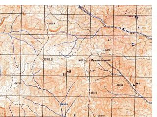 Reduced fragment of topographic map ru--gs--050k--j42-058-3--N038-30_E070-30--N038-20_E070-45