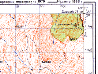 Reduced fragment of topographic map ru--gs--050k--j42-067-1--N038-20_E069-00--N038-10_E069-15; towns and cities Yavan
