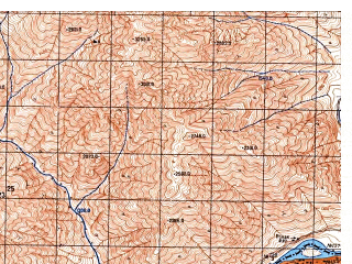 Reduced fragment of topographic map ru--gs--050k--j42-069-4--N038-10_E070-15--N038-00_E070-30; towns and cities Khosfav