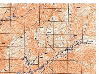Reduced fragment of topographic map ru--gs--050k--j42-070-2--N038-20_E070-45--N038-10_E071-00; towns and cities Vod Ab