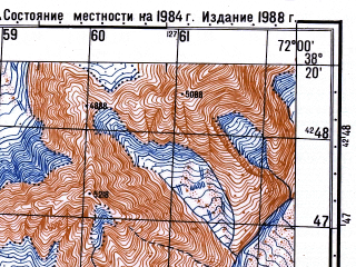 Reduced fragment of topographic map ru--gs--050k--j42-072-2--(1988)--N038-20_E071-45--N038-10_E072-00