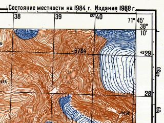 Reduced fragment of topographic map ru--gs--050k--j42-072-3--(1988)--N038-10_E071-30--N038-00_E071-45