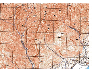 Reduced fragment of topographic map ru--gs--050k--j42-083-2--N038-00_E071-15--N037-50_E071-30; towns and cities Barushan