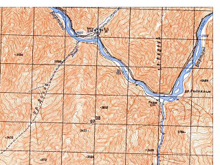 Reduced fragment of topographic map ru--gs--050k--j42-084-1--N038-00_E071-30--N037-50_E071-45; towns and cities Rushan