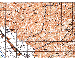 Reduced fragment of topographic map ru--gs--050k--j42-092-1--N037-40_E069-30--N037-30_E069-45