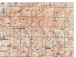 Reduced fragment of topographic map ru--gs--050k--j42-094-3--N037-30_E070-30--N037-20_E070-45; towns and cities Kalan Elga