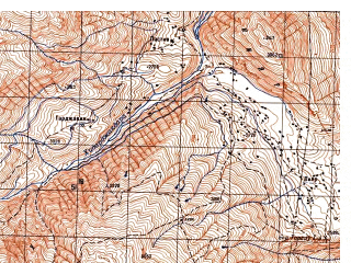 Reduced fragment of topographic map ru--gs--050k--j42-095-4--N037-30_E071-15--N037-20_E071-30; towns and cities Arakhat