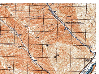 Reduced fragment of topographic map ru--gs--050k--j42-120-4--N036-50_E071-45--N036-40_E072-00