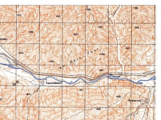 Reduced fragment of topographic map ru--gs--050k--j42-128-1--N036-40_E069-30--N036-30_E069-45