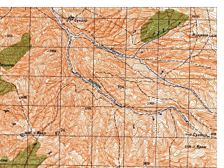 Reduced fragment of topographic map ru--gs--050k--j42-130-2--N036-40_E070-45--N036-30_E071-00; towns and cities Ghowrayd Gharami