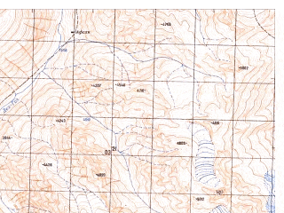Reduced fragment of topographic map ru--gs--050k--j42-143-4--N036-10_E071-15--N036-00_E071-30; towns and cities Dung Gushten