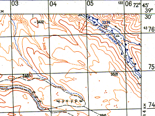Reduced fragment of topographic map ru--gs--050k--j43-014-3--N039-30_E072-30--N039-20_E072-45