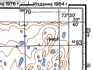 Reduced fragment of topographic map ru--gs--050k--j43-015-2--N039-40_E073-15--N039-30_E073-30