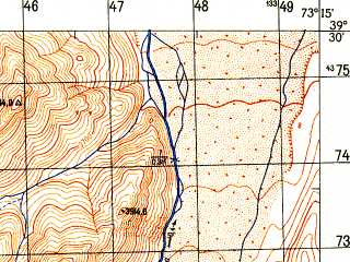 Reduced fragment of topographic map ru--gs--050k--j43-015-3--N039-30_E073-00--N039-20_E073-15