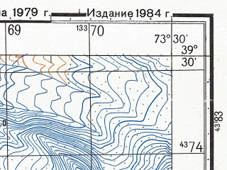 Reduced fragment of topographic map ru--gs--050k--j43-015-4--N039-30_E073-15--N039-20_E073-30