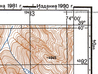 Reduced fragment of topographic map ru--gs--050k--j43-016-2--N039-40_E073-45--N039-30_E074-00