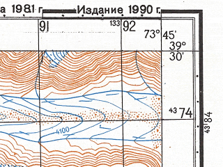 Reduced fragment of topographic map ru--gs--050k--j43-016-3--N039-30_E073-30--N039-20_E073-45