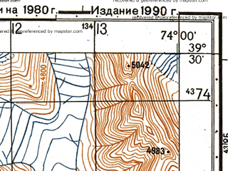 Reduced fragment of topographic map ru--gs--050k--j43-016-4--N039-30_E073-45--N039-20_E074-00