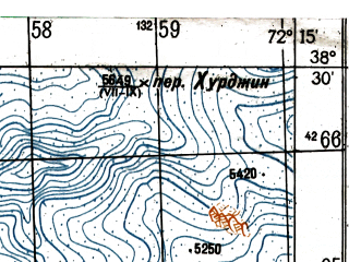 Reduced fragment of topographic map ru--gs--050k--j43-049-3--N038-30_E072-00--N038-20_E072-15