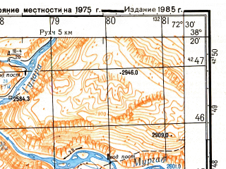 Reduced fragment of topographic map ru--gs--050k--j43-061-2--(1985)--N038-20_E072-15--N038-10_E072-30; towns and cities Barchidev