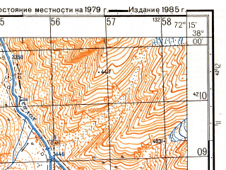 Reduced fragment of topographic map ru--gs--050k--j43-073-1--(1985)--N038-00_E072-00--N037-50_E072-15