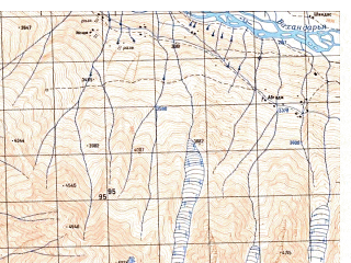 Reduced fragment of topographic map ru--gs--050k--j43-110-1--N037-00_E072-30--N036-50_E072-45; towns and cities Ab Gach