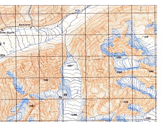 Reduced fragment of topographic map ru--gs--050k--j43-113-3--N036-50_E074-00--N036-40_E074-15; towns and cities Buattar