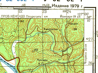 Reduced fragment of topographic map ru--gs--050k--j52-062-4--N038-10_E126-45--N038-00_E127-00