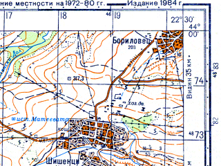 Reduced fragment of topographic map ru--gs--050k--k34-009-2--N044-00_E022-15--N043-50_E022-30; towns and cities Zajecar