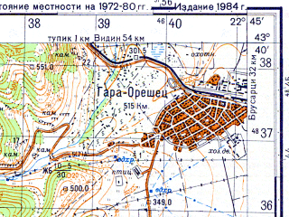 Reduced fragment of topographic map ru--gs--050k--k34-022-1--N043-40_E022-30--N043-30_E022-45; towns and cities Belogradchik