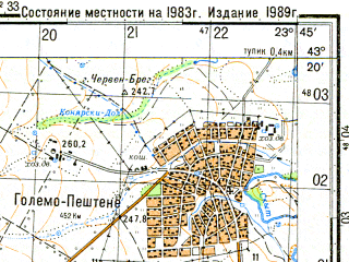 Reduced fragment of topographic map ru--gs--050k--k34-036-1--N043-20_E023-30--N043-10_E023-45; towns and cities Vratsa