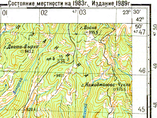 Reduced fragment of topographic map ru--gs--050k--k34-047-4--N042-50_E023-15--N042-40_E023-30; towns and cities Sofia