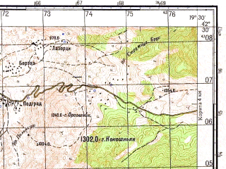Reduced fragment of topographic map ru--gs--050k--k34-051-4--N042-30_E019-15--N042-20_E019-30; towns and cities Podgorica